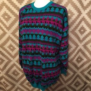Vintage 80s Oversized Geometric Patterned Sweater!